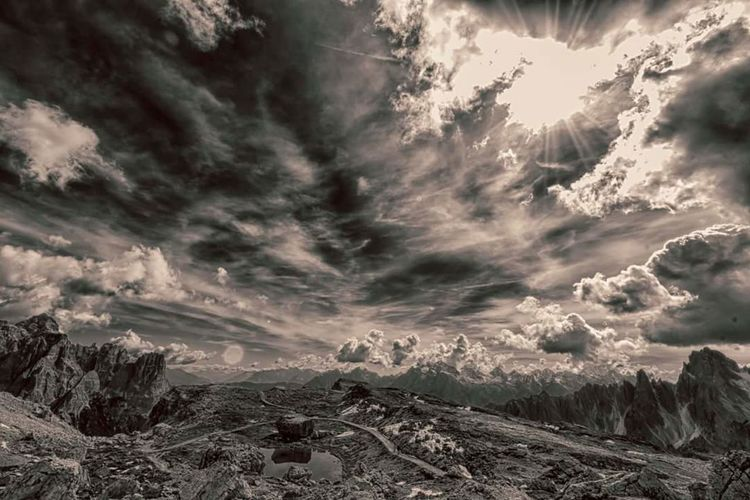 Nature Dramatic Sky Beauty In Nature Landscape Outdoors Cloud - Sky Storm No People Mountain Scenics Sunset Day Winter Sky Dolomiti Italy Dolomieten Hiking Day Hiking