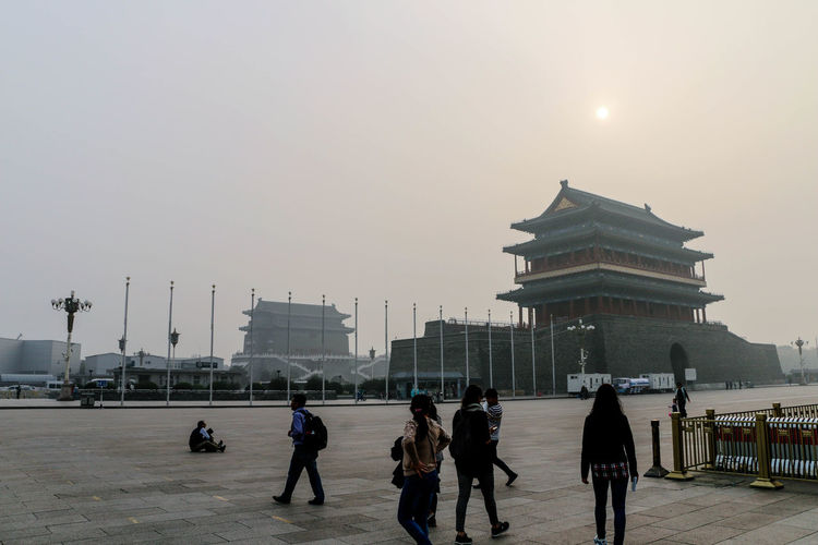 Beijing gate in Tianmen Square in China History Travel Destinations Architecture Cityscape Urban Skyline Old Buildings Old Gate Tianmen Square Tradition China Sculpture Ancient Tourism Temple - Building Architecture Religion Built Structure Ancient Civilization Arts Culture And Entertainment Foggyday Fog Foggy Morning