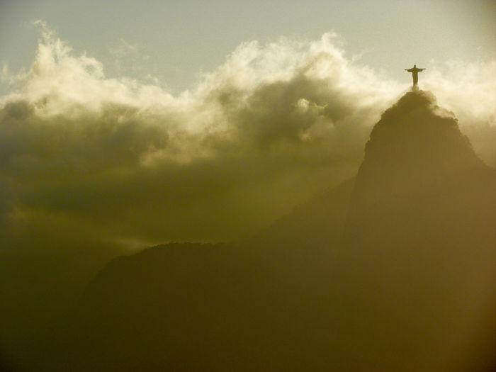 Pão De Açucar Jesus Christ Corcovado National Park Sunset Clouds And Sky