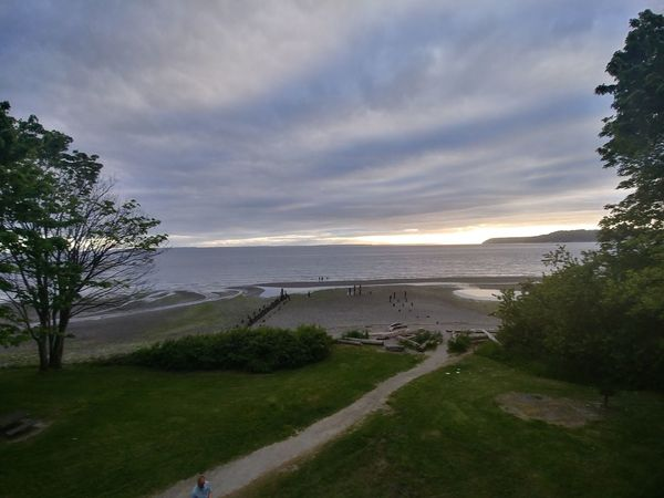 Beach Beauty In Nature Day Grass High Angle View Horizon Over Water Nature No People Outdoors Sand Scenics Sea Sky Sunset Tranquil Scene Tranquility Tree Water