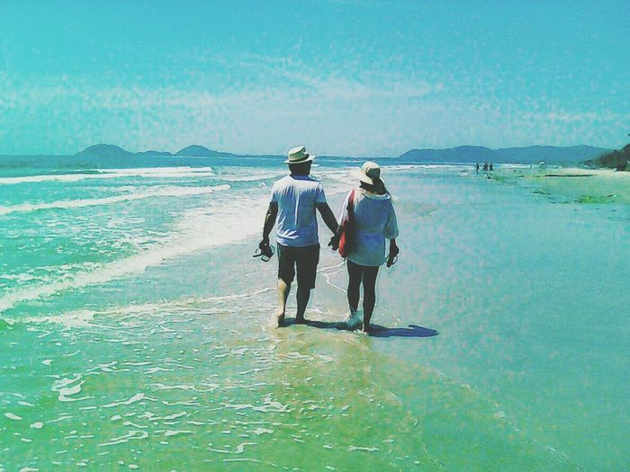 Praia do Farol - Ilha do Mel Rear View Sea Two People Full Length Togetherness Adults Only Day Outdoors Sky Adult Women Only Women Beach People Friendship Horizon Over Water Water Young Adult