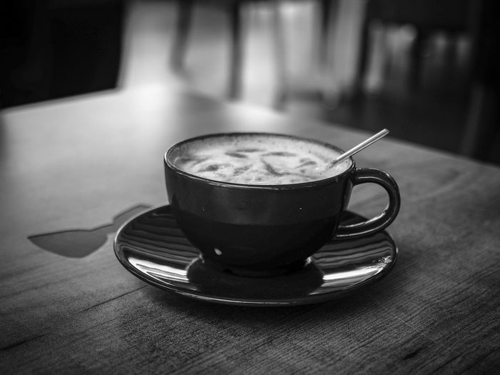 Coffee time Monochrome Blackandwhite Black And White Drink Coffee Table Food And Drink Coffee - Drink Mug Refreshment Cup Coffee Cup Still Life Indoors  Focus On Foreground Saucer Frothy Drink Close-up Freshness No People Hot Drink