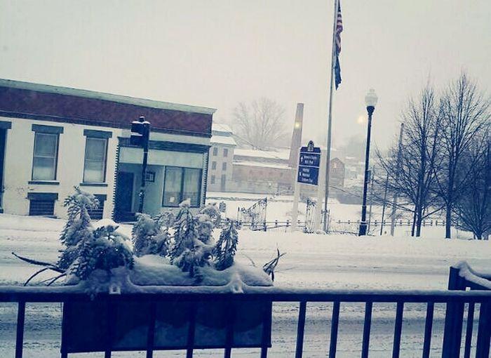 Snowing at Seneca Falls Taking Photo
