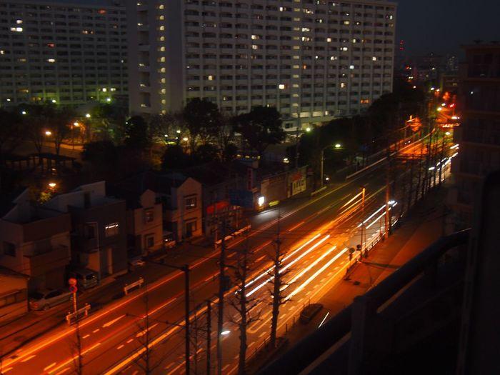Before dawn. Headlights Cars
