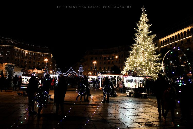 Celebration Christmas Christmas Decoration Christmas Lights Christmas Tree City Holiday - Event Illuminated Large Group Of People Night People