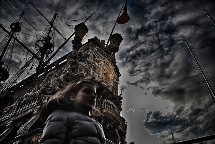 Pirate clipper ship Black Woman Power Women's Issues Woman Dramatic Light Clipper Ship Pirate Low Angle View Sky Cloud - Sky Statue Sculpture
