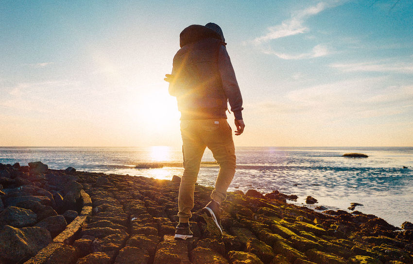 Day Diary Friends Horizon Over Water Leica Men Nature Nordsee Outdoors People Sea Sea And Sky Sky Standing Sun Sunlight Sunset VSCO