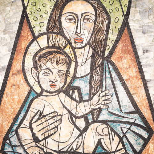 San Candido, Italy - December 25, 2016: Virgin Mary with baby Jesus painted on a wall of the ancient cemetery of San Candido. Antique Architecture Art ArtWork Baby Jesus Bible Byzantine Catholic Child Christ Christianity Church Culture Fresco Greece Iconography Image Jesus Madonna Medieval Motherhood Nativity Orthodox Paint Painter Picture Religion Religious  Russian Sacred Symbol Virgin Mary Wall