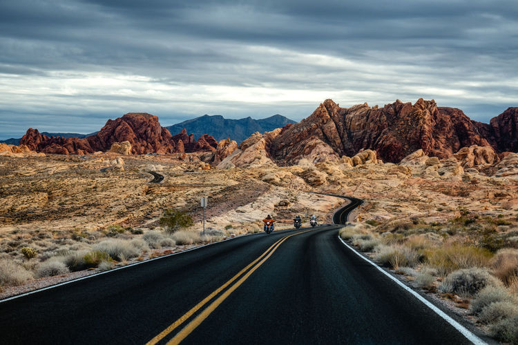 Bikers riding in valley of fire