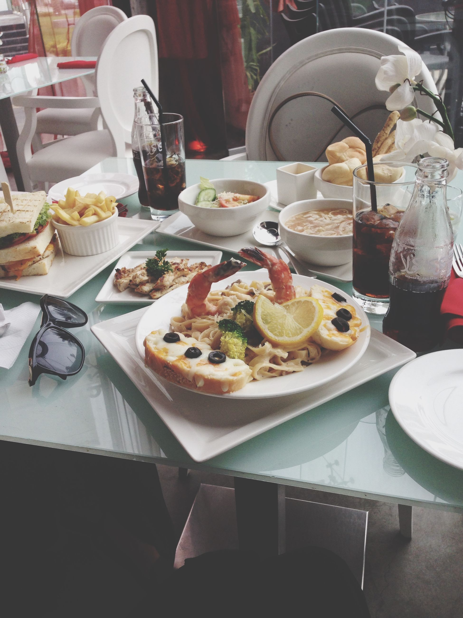food and drink, food, plate, table, freshness, indoors, ready-to-eat, still life, restaurant, healthy eating, serving size, meal, fork, drinking glass, served, indulgence, bowl, drink, high angle view, spoon