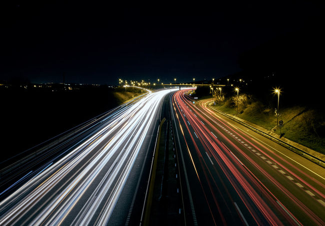 Autopista 7 Blurred Motion City City Life Clear Sky High Angle View High Street Highway Illuminated Light Trail Long Exposure Motion Night No People Outdoors Road Rush Hour Sky Speed Street Street Light Traffic Traillights Transportation