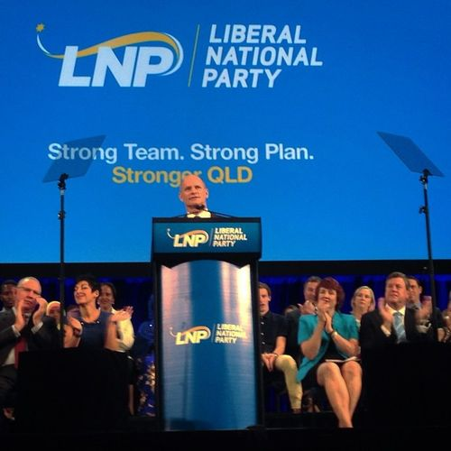 On assignment at the Qld Liberal National Party's campaign launch, here Qld Premier Campbell Newman speaking. Politics State Queensland QLD Election Vote Lnp Speech Campaign