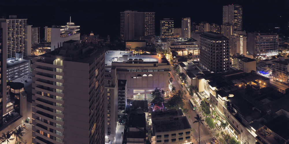 Balcony view. Hawaii Honolulu  Architecture City High Angle View City Life Night Long Exposure