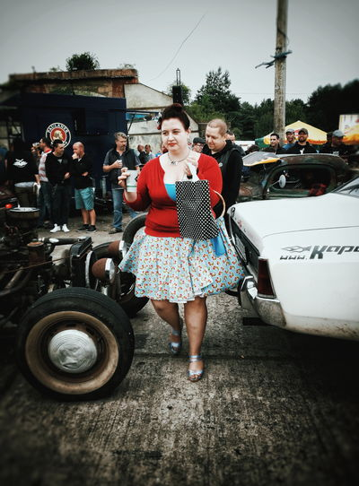 Cherries... Race61 Rockabilly Rockabella Rock'n'Roll RatRod HotRod Classic Car Festival Streetphotography Streetphoto_color Street Fashion Streetscene Smile Lady Woman Red Cherries Candid Candid Photography Candid Portraits Let's Go. Together. EyeEm Selects Sommergefühle