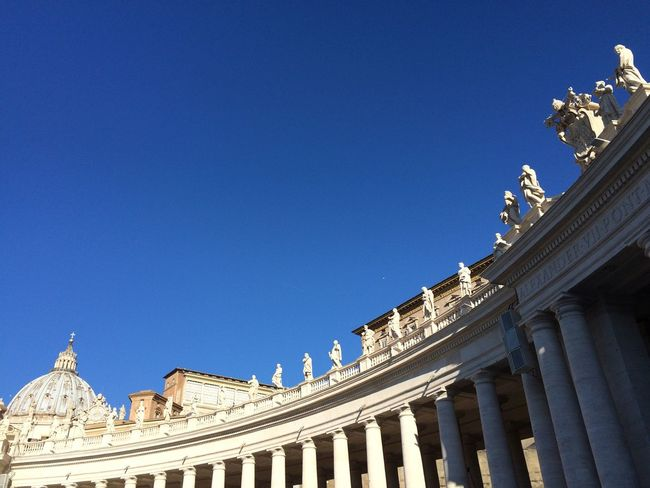 Italy Vatican Church Architecture Built Structure Copy Space Blue Building Exterior Travel Destinations Clear Sky Statue Architectural Column History Sculpture Sunlight Low Angle View