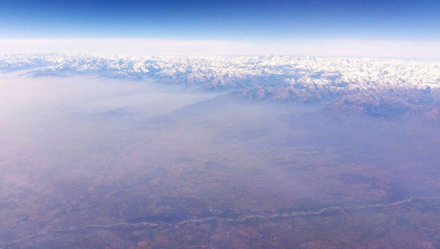 Light Mountains And Sky Snow Airplaneview Altitude 10000m Italy Panoramic Landscape Panorama Horizon Over Land Horizon