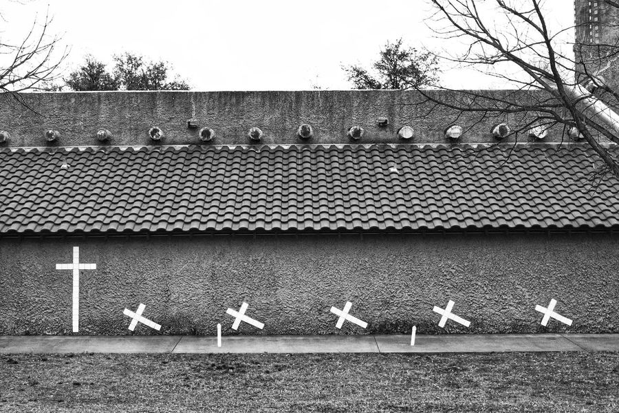 Mission Wall Reclining Crosses Mission Walls Spanish Arquitecture Mission San Jose White Crosses Las Cruces monochrome photography Day Outdoors No People Tree Nature Sky