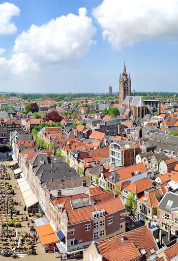 Panorama of Delft, from the Oude Kerk (Old Church) of Delft, The Netherlands Panorama Panoramic Panoramic Photography Travel Photography Travel Travel Destinations Sky Cloud - Sky White Blue Residential District Cityscape City Residential Building Building Exterior Built Structure Building Roof Wide Wide Angle Wide Shot TOWNSCAPE Outdoors Tourism Tourist Attraction  Architecture Town Day Crowded High Angle View Birds Eye View Crowd Community Roof Tile Roof Rooftops House