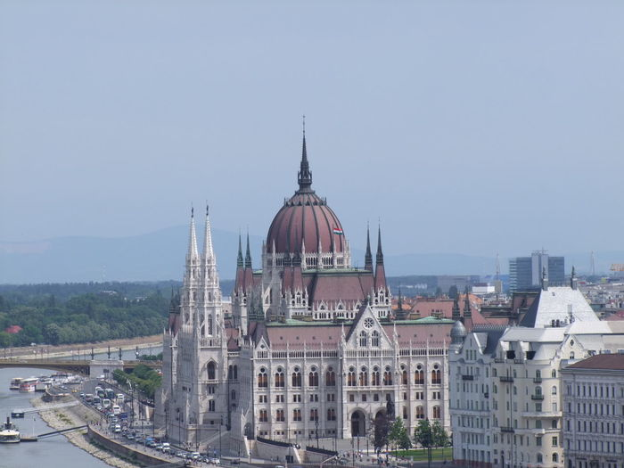 Hungarian parliament building against sky in city
