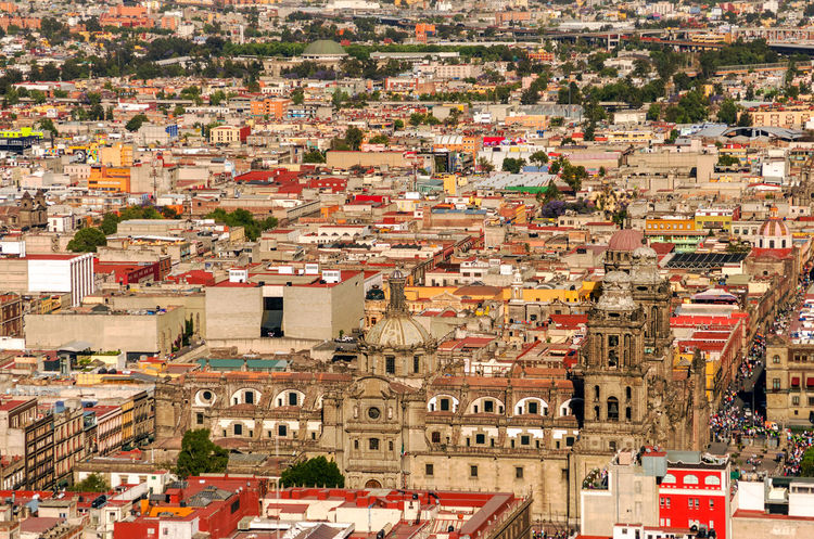 Aerial view of the Cathedral of Mexico City with the surrounding neighborhood America Architecture Buildings Capital Federal Center City Df Distrito Downtown Federal Historic Landmark Latin Metropolitana National Old Outdoors Residential District Square Street Symbol Tourism Travel Urban Vacation