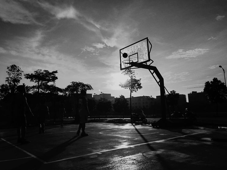 Basketball - Sport Basketball Hoop Sunset Sport Court City Tree Sky Outdoors Competition People Adult Day