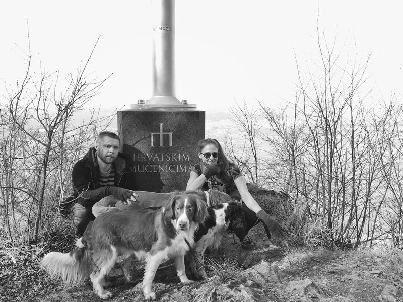 """Hrvatski Mučenici / Croatian Martyrs"", Kameni svati, Nature Park Medvednica, Croatia, 2017. Kameni Svati Croatia Zagreb Documentary Friends Dogs Togetherness Animal Themes Dog Pets Friendship People Forest Monument Landscape"