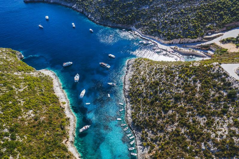 Porto vromi with many fisher and tourist pleasure boats. zakynthos - zante island, greece