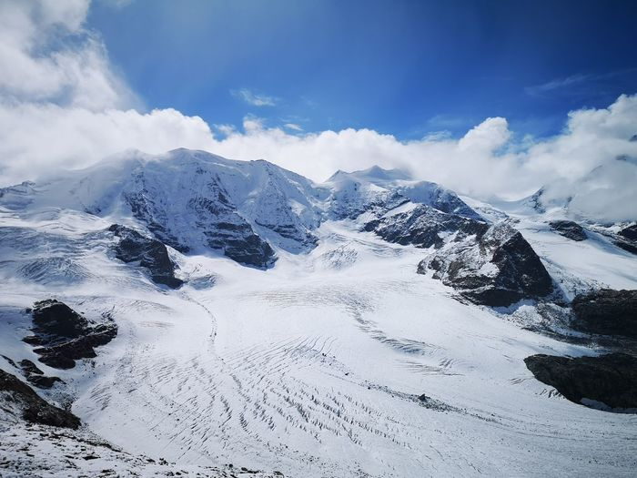 Diavolezza, Engadin Diavolezza Engadin Swissalps Alps Switzerland Schweiz Graubünden Schweiz Swiss Mountains EyeEm Selects Mountain Snow Cold Temperature Snowcapped Mountain Sky Mountain Range Landscape Cloud - Sky Glacier Rock Formation Global Warming