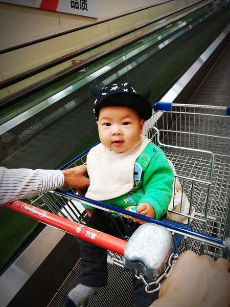 逛超市🏪 Childhood Shopping Cart Babies Only Sitting Boys 😊💝😏 Have A Great Day Happiness Baby