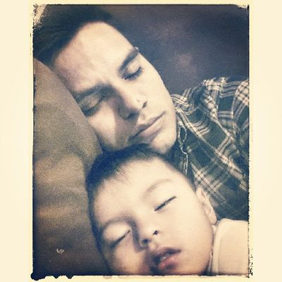 Sleeping comfortably with daddy...