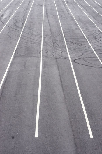 High angle view of road markings on sports track