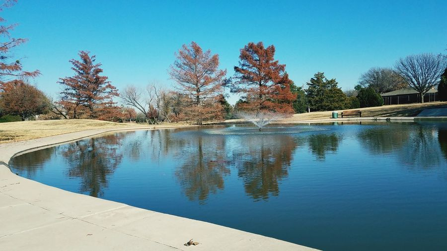 sit down break while walking Tree Water Reflection Clear Sky Sky