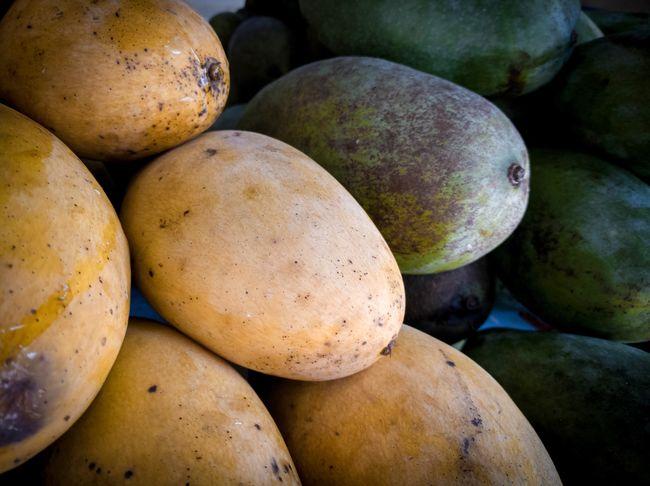 Ripe and raw mango Sweet Raw Mangoes Ripe Mango Raw Ripe Fruit Water Fruit Market Close-up Food And Drink Stall Mango Tropical Fruit Unripe Passion Fruit Mango Fruit Market Stall Farmer Market For Sale Juicy