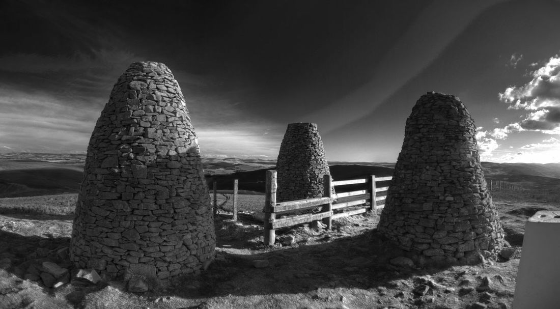 The Three Brethern above Yair, Scottish Borders. Black And White Borders Borders History Cairns Monochrome Outdoors Scotland Scottish Borders Selkirk Sky Three Brethern Tranquil Scene Tranquility Yair Yarrow