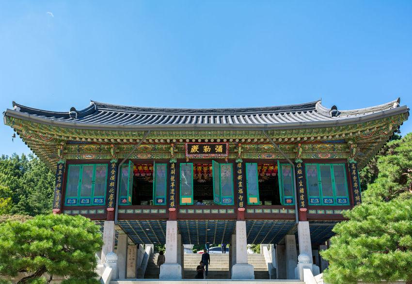 The Bongeunsa in Gangnam, Seoul ASIA Bongeunsa Buddhist Building Exterior Colors Gangnam Korean Low Angle View Seoul Shrine South Korea Temple Travel