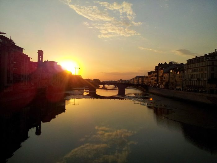 Reflection Sunset Travel Bridge - Man Made Structure River Outdoors Water City No People Florence Italy Gold Bridge