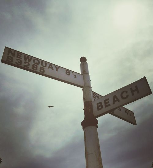History Day Sky Outdoors Low Angle View No People Signpost Newquay Beach