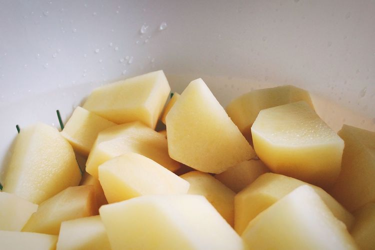 Close-up of chopped potatoes in bowl