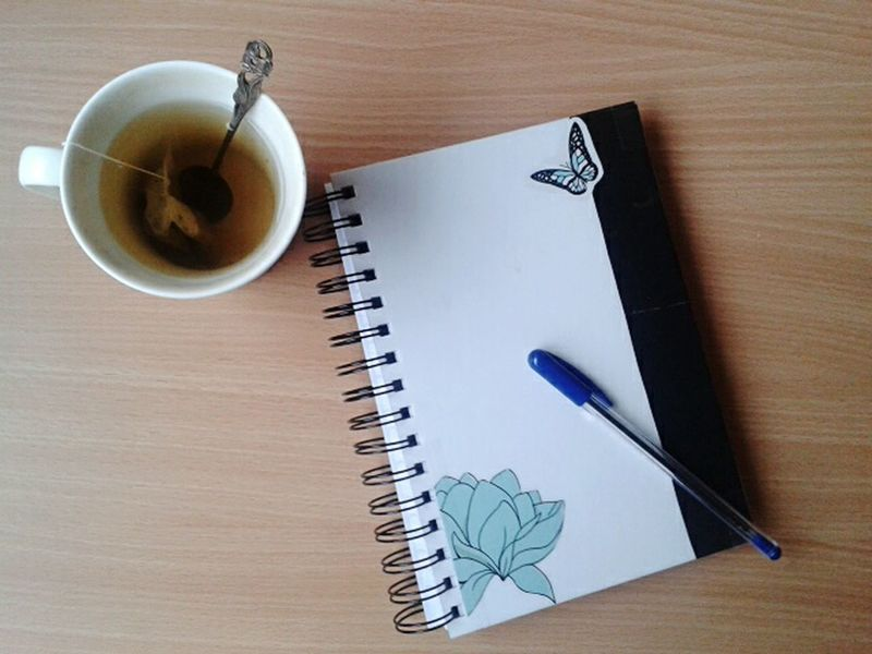 Desks From Above Tea Cupoftea Notebook Inkpen Taking Photos Check This Out Hello World