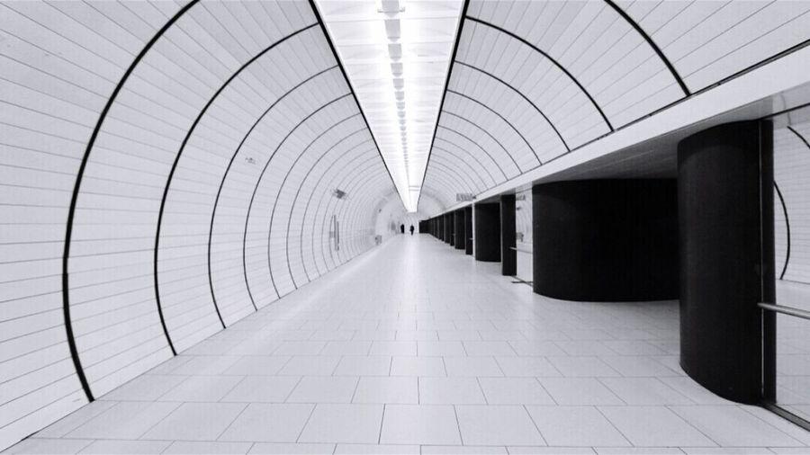 Indoors  Metro Blackandwhite Photography Monochrome Photography Architecture Metro Station Black And White No People Tunnel Urban Blackandwhite U-Bahn City Streetphotography Streetphoto_bw