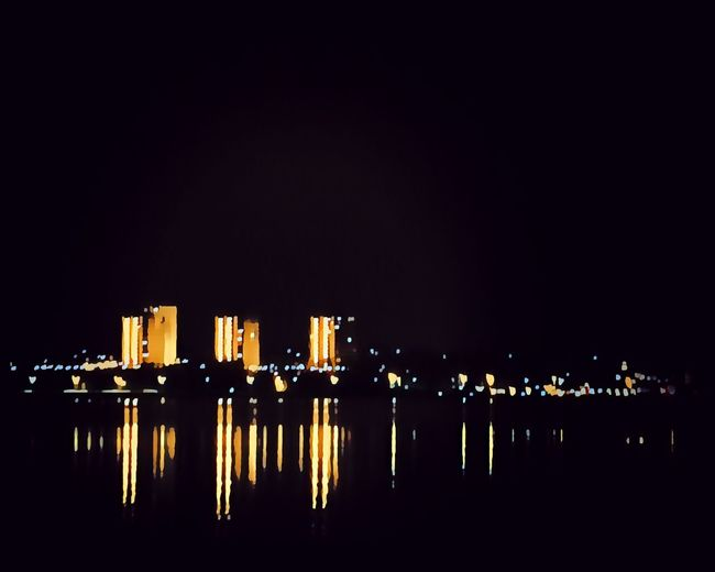 Koldingfjord Tved Kolding Illuminated Night Built Structure Architecture Sky Building Exterior Copy Space Water City Building Waterfront Cityscape Nature Reflection Outdoors