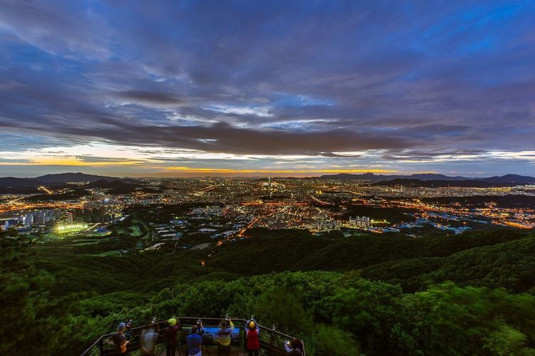 서울 남한산성 서문 도시 야경 Seoul City Night Landscape Night View Nightscape with 소니 Sony A7R and 캐논 Canon EF16-35mmF4LIS USM