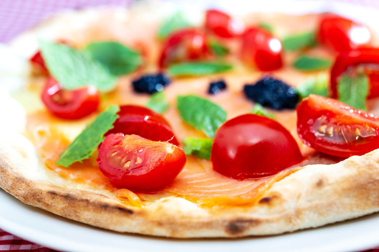 Food And Drink Baked Breakfast Cherry Tomato Close-up Dairy Product Delicious Food Food And Drink Freshness Fruit Herb Indoors  Mint Leaf - Culinary No People Pizza Ready-to-eat Red Savory Pie Selective Focus Still Life Temptation Tomato Unhealthy Eating Vegetable Vegetarian Food