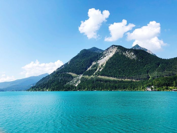Walchensee 💦 Sky Water Cloud - Sky Blue Day Scenics - Nature Nature No People Beauty In Nature Tranquil Scene Tranquility Plant Waterfront Idyllic Tree Outdoors Mountain Lake Architecture Swimming Pool 17.62°