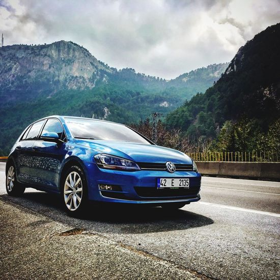 Golf 7 highline pacific blue Pacific Blue Highline 7 Golf Volkswagen Car Transportation Mountain Land Vehicle Sky Road Cloud - Sky Tree Outdoors Day No People