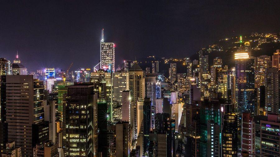 Calm before the storm. Skyscraper City Architecture Illuminated Cityscape Urban Skyline Nightphotography City Lights Skyscrapers HongKong Highrise Neon Lights