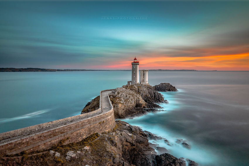 Le phare du Minou Beauty In Nature Building Exterior Coastline Day Horizon Over Water Illuminated Landscape Lighthouse Lighthouse Long Exposure Nature No People Outdoors Reflection Romantic Sky Scenics Sea Sky Sunset Travel Destinations Water Water's Edge