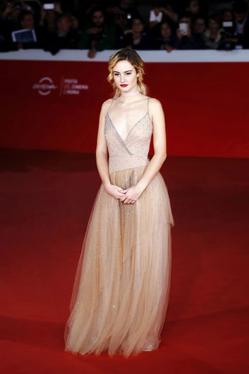 Rome, Italy - October 16, 2016: Actress Grace Van Patten on the red carpet of the 11th edition of the Rome Film Festival to present the film 'Tramps'. Actress Celebrities Cinema Famous People Grace Van Patten; Portrait Relaxing Rome Film Festival