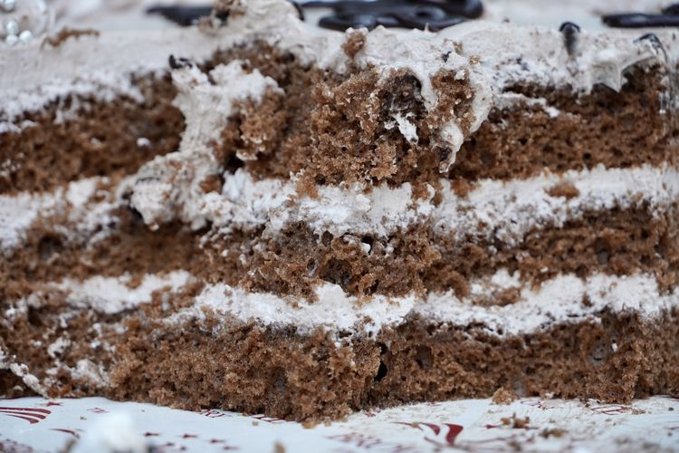 Close-up of cake on snow