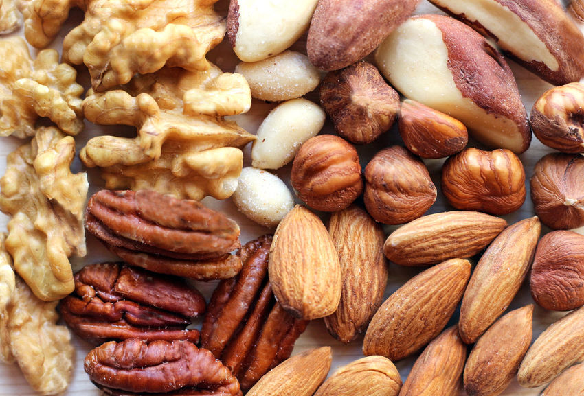 variety of nuts, close up Brazil Nut Copy Space Pecan Snack Almond Backgrounds Brown Close Up Close-up Copy Space In Sky Fat Food Food And Drink Full Frame Hazelnut Healthy Eating Indoors  Large Group Of Objects Macadamia Nut Macro No People Nut - Food Superfood Unsaturated Walnut
